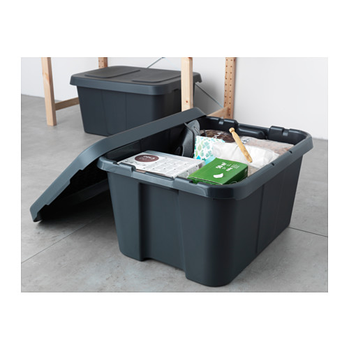 KLÄMTARE caja con tapa para interior y exterior