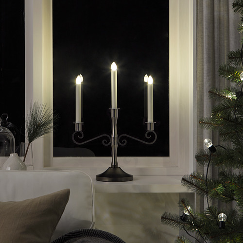 STRÅLA candelabro LED de 3 brazos, 34x46cm