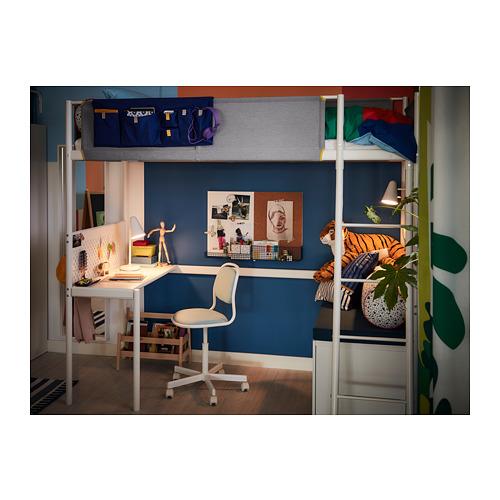 VITVAL  cama alta con somier y escritorio, 90cm
