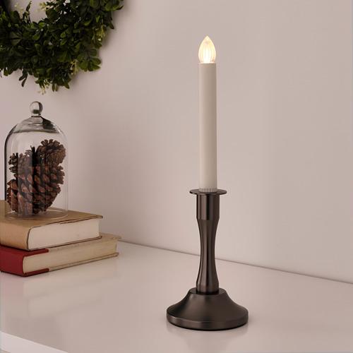 STRÅLA candelabro con vela LED de pilas, 34cm de altura