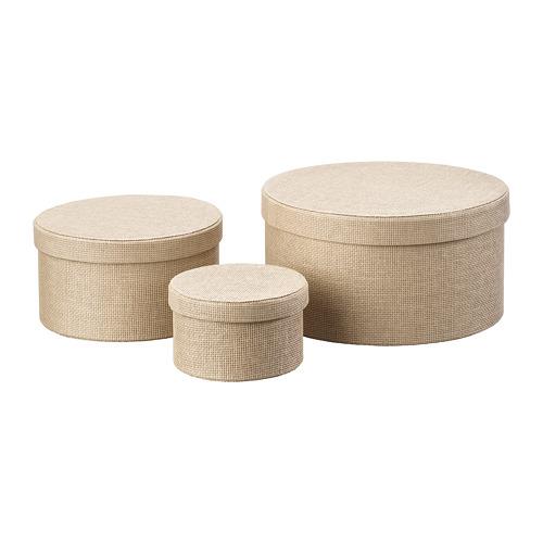 KVARNVIK caja con tapa, juego de 3 unidades