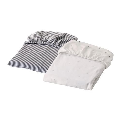 SOLGUL sábana ajustable para cuna, juego de 2