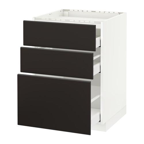 METOD/MAXIMERA armario bajo para placa 3 cajones