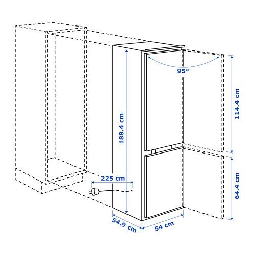 KÖLDGRADER frigorífico combi integrado A++, 54x54,9x188,4cm