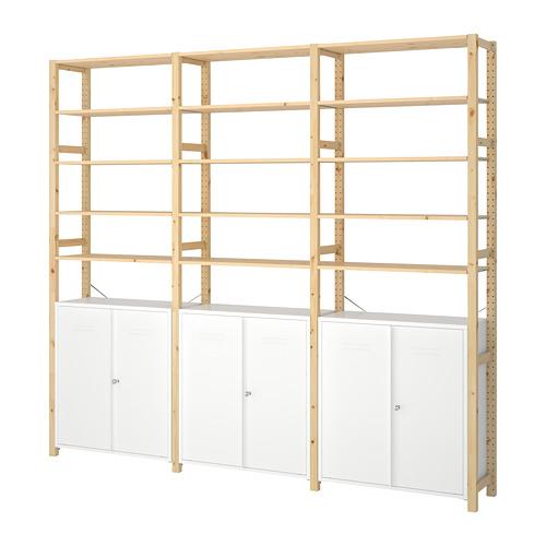 IVAR Estantería, 3 secciones con estantes y armarios, 259x30x226cm