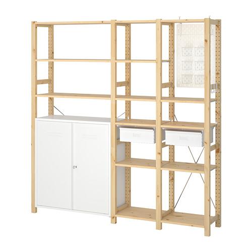 IVAR Estantería, 3 secciones con armario, estantes y cajones, 178x30x179cm