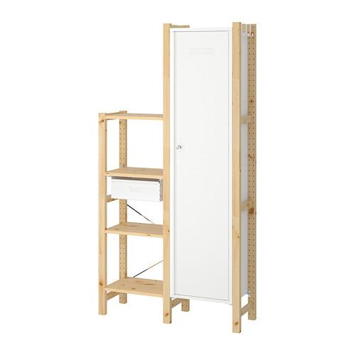 IVAR Estantería, 2  secciones con estantes cajón y armario, 92x30x179cm