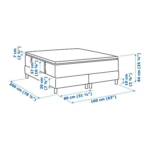 ESPEVÄR somier de láminas con funda blanca, patas y colchón + colchoncillo, 160cm
