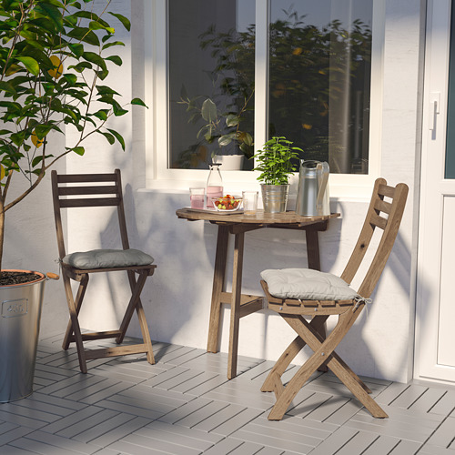 ASKHOLMEN mesa de pared+2 sillas plegables de exterior