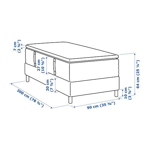 ESPEVÄR somier de láminas con funda blanca, patas y colchón+colchoncillo, 90cm