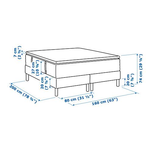 ESPEVÄR somier de láminas con funda blanca, patas y colchón+colchoncillo, 160cm