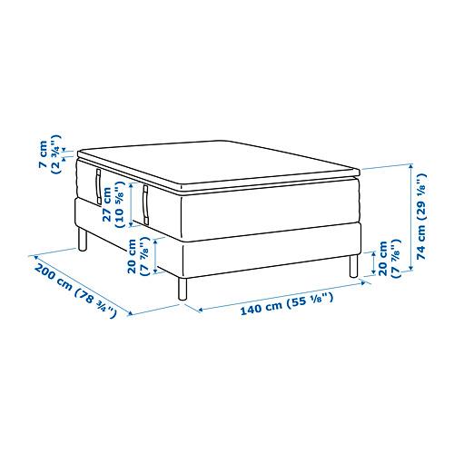 ESPEVÄR somier de láminas con funda blanca, patas y colchón+colconcillo, 140cm