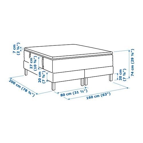 ESPEVÄR somier de láminas con funda blanca,patas y colchón+colchoncillo, 160cm