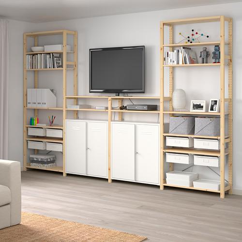 IVAR Estantería, 4 secciones con estantes y armarios, 344x30x226cm