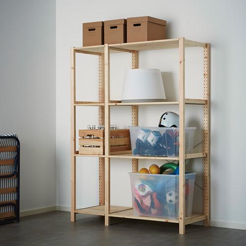IVAR Estantería, 2 secciones con estantes, 134x50x179cm