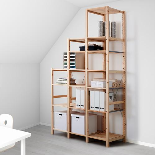 IVAR Estantería, 3 secciones con estantes, 139x50x124cm