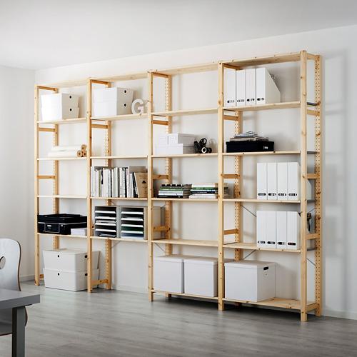 IVAR Estantería, 4 secciones con estantes, 344x30x226cm