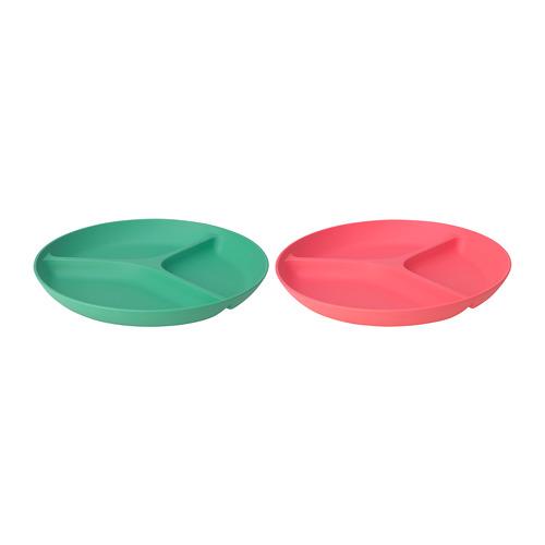 HEROISK plato con 3 compartimentos, juego de 2