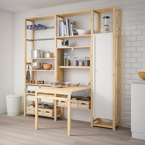 IVAR Estantería, 3 secciones con armario, estantes y mesa plegable, 219x30y104x226cm