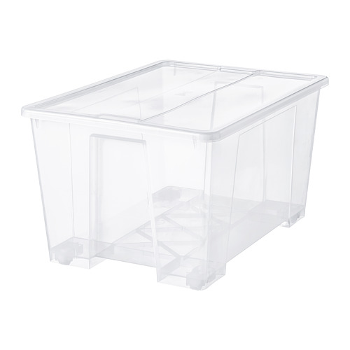 SAMLA caja con tapa, 130 litros
