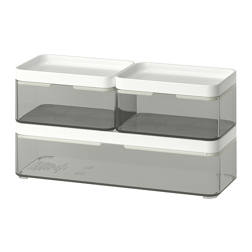 BROGRUND caja con tapa, juego de 3 unidades