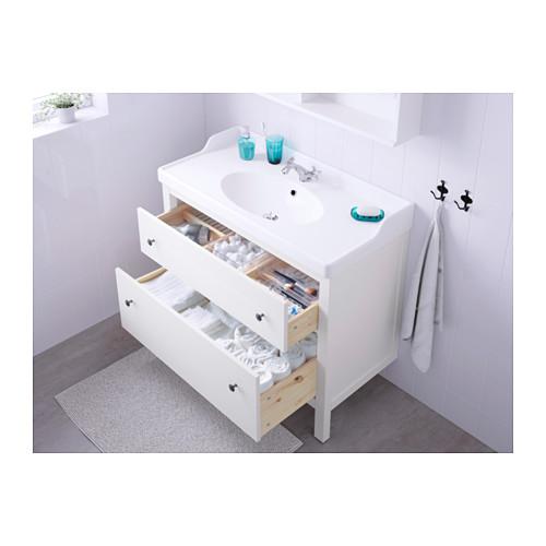HEMNES/RÄTTVIKEN mueble de baño para lavabo con 2 cajones, juego de 3