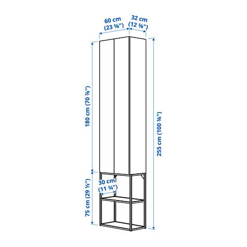 ENHET combinación almacenaje pared, 60x30x255cm