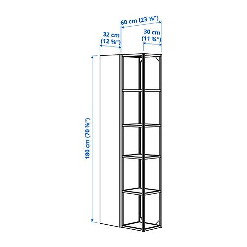 ENHET mueble alto de baño abierto y cerrado para pared, 60x30x180cm