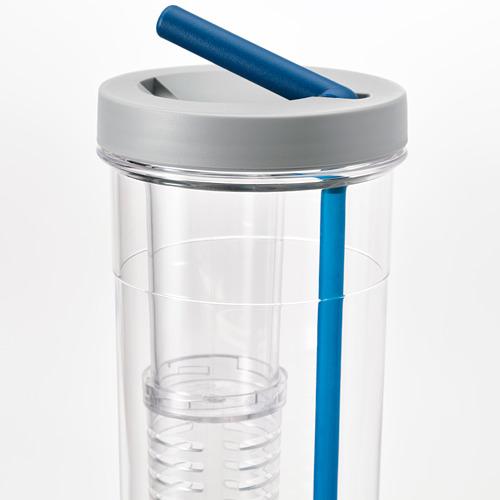 UPPLADDA botella infusión con paja, 0,7 litros