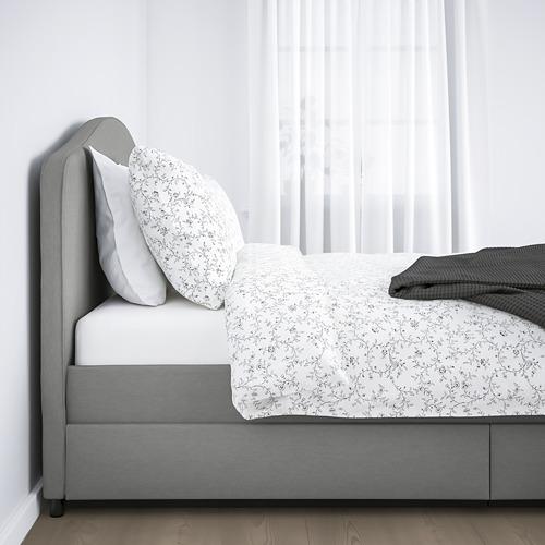 HAUGA cama 160, estructura cama tapizada con 4 cajones y somier incluido
