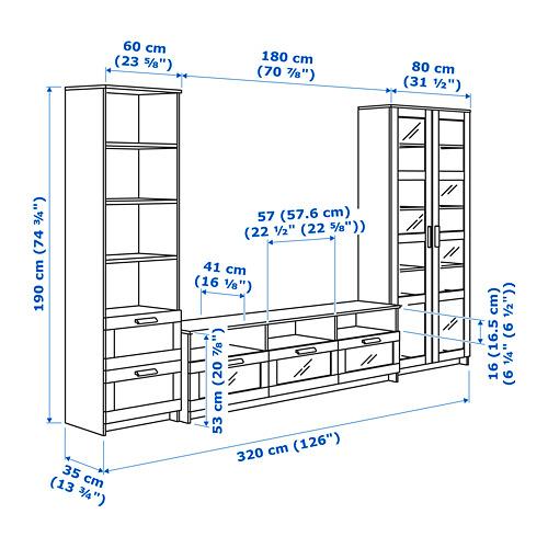 BRIMNES mueble TV+ puertas vidrio