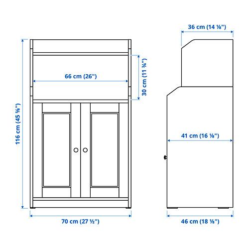 HAUGA estantería con puertas, 70x46x116cm