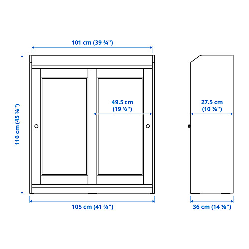 HAUGA vitrina, 105x36x116cm