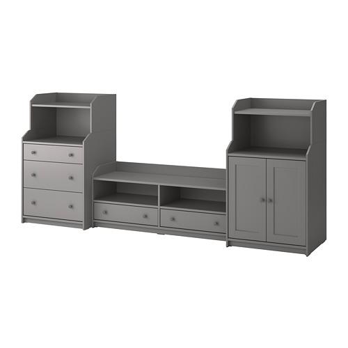HAUGA combinación almacenaje con mueble TV, 277x46x116cm