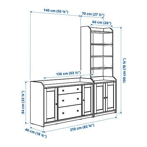 HAUGA Combinación aparador y estantería, 210x46x199cm