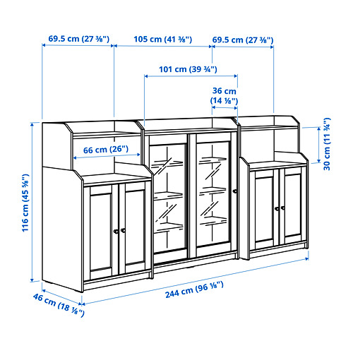 HAUGA Combinación de estanterías, 244x46x116cm