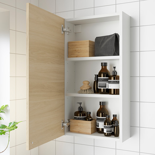 ENHET Mueble de baño para pared con 2 estantes, 40x15x75cm