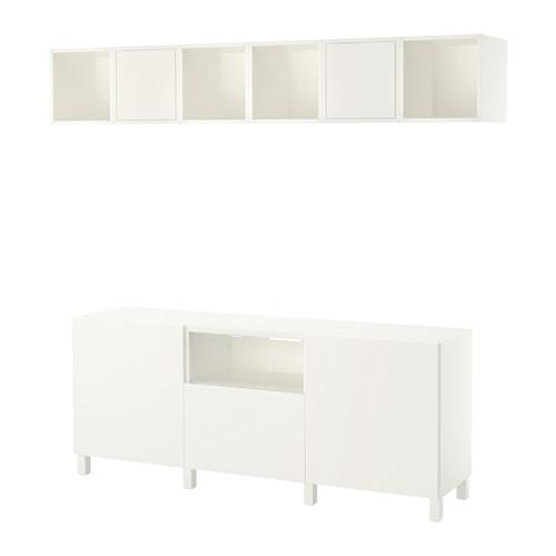 EKET/BESTÅ mueble modular de TV con puertas y cajón, combinado con 4 estanterías cubo abiertas y 2 con puertas a la pared