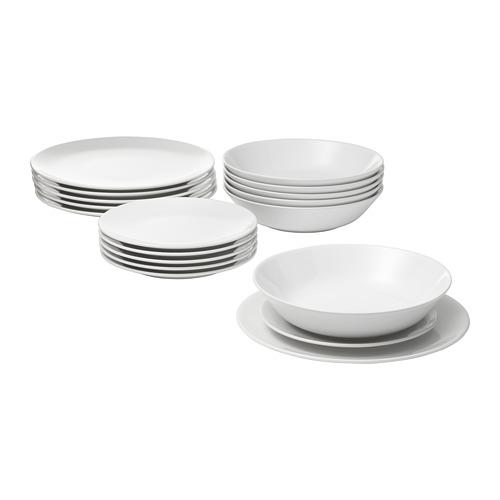 FLITIGHET vajilla 18 piezas, incluye 6 platos de 26cm, 6 platos de 22cm y 6 platos de 20cm de diámetro