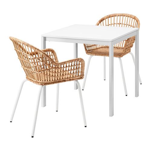 MELLTORP/NILSOVE mesa con 2 sillas, longitud de la mesa 75cm