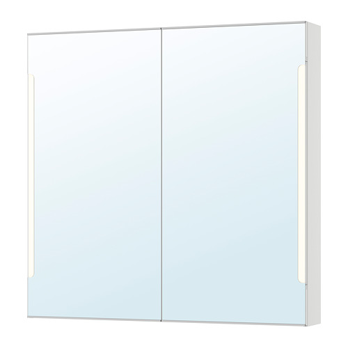 STORJORM armario de pared con 2 puertas de espejo e iluminación integrada