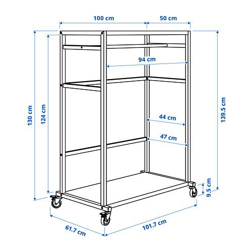 RÅVAROR almacenaje con ruedas, 100x50x140cm