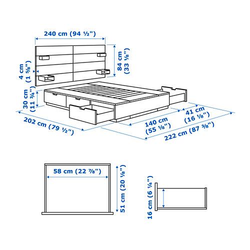 NORDLI Cama 140, estructura con almacenaje y cabecero