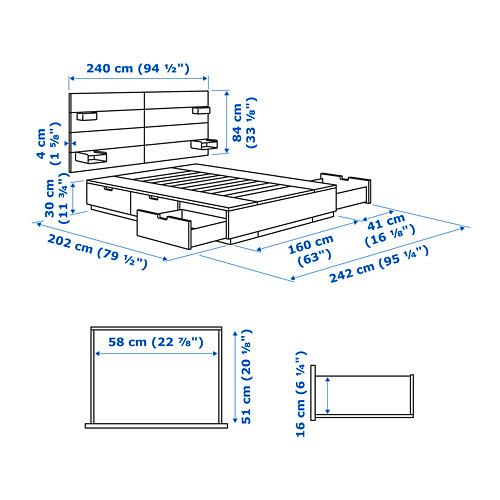 NORDLI Cama 160, estructura con almacenaje y cabecero