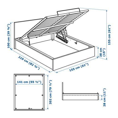 MALM Cama 140, estructura canapé abatible