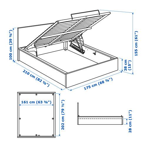 MALM Cama 160, estructura canapé abatible