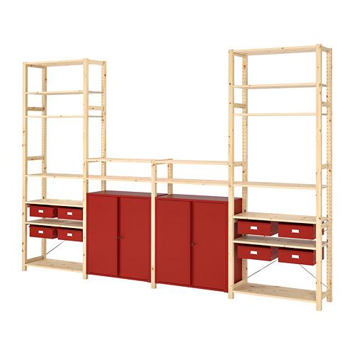 IVAR Estantería, 4 secciones con cajones, estantes y armarios, 344x30x226cm