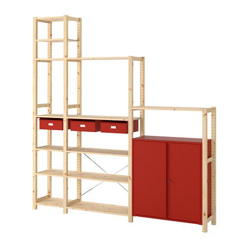 IVAR Estantería, 3 secciones con cajones, estantes y armario, 219x30x226cm