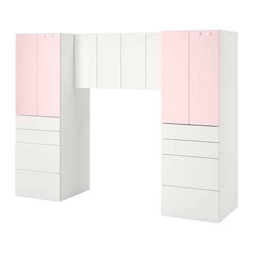 PLATSA/SMÅSTAD Combinación de armario y estantería, 240x55x180cm