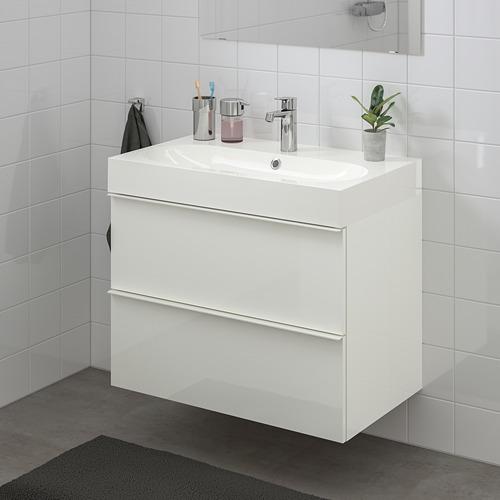 BRÅVIKEN/GODMORGON mueble de baño para lavabo con 2 cajones, juego de 3